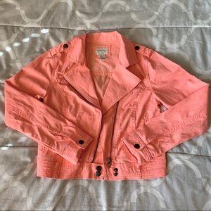 Pink Crop Biker Jacket